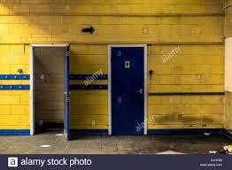 school bathroom. Abandoned School Locker Room. Doorways. - Stock Image Bathroom E