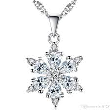 whole high quality cz diamond snowflake necklace pendants white gold plated women vintage fashion jewelry accessories valentine s day gift long pendant