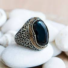 Silver Stone Ring Designs 925 Sterling Silver Ring With A Distinctive Design Inlaid With Onyx Stone Rings