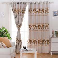 Small Picture Printed Plant Pattern of PolyesterLinen Blend Modern Curtain For