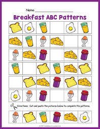 Abc Pattern Gorgeous Breakfast ABC Pattern Worksheet