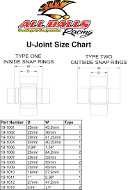 Transmission Size Chart All Balls 19 1002 U Joint Transmission Drive Train