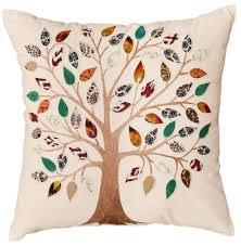 Designer Decorative Pillows For Couch White Tree of Life Decorative Pillow Cover Cotton Applique Work 27
