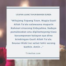 Berbagai kumpulan karya yang bisa menjadi kartu ucapan untuk pacar, ayah, ibu atau bahkan sahabat. 75 Ucapan Selamat Ulang Tahun Bahasa Sunda Makna Mendalam Trimelive