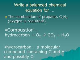 12 write a balanced chemical equation for the combustion of propane