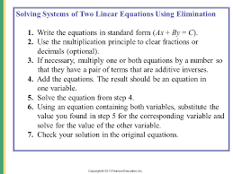 11 copyright 2016 pearson education inc solving systems of two linear equations