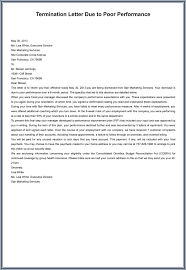 Sample Of A Termination Letter To An Employee Termination Letter Poor Performance Scrumps