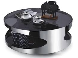 sentinel modern designer large round coffee table glass top stainless steel 203