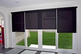 black exterior door with blinds between glass