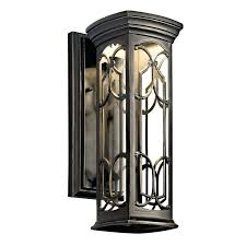 led outdoor wall sconce bronze single light tall led outdoor wall sconce with patterned metal frame