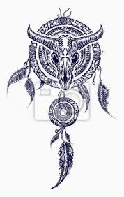 Fototapeta Bison Lebka A Indiánské Tetování Tetování Snů Kmenové Umění