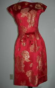 Image result for red and antique gold brocade gown