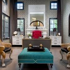 deco office. Art Deco Home Office With Neutral Wallpaper, Teal Ottoman Deco Office O