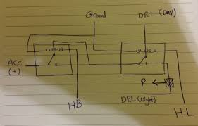 light two relays for drl on a car electrical engineering stack diagram