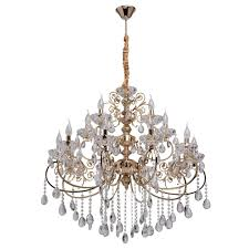 graceful classic 15 arm pendant chandelier in gold with rich crystal décor