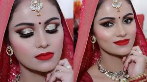 indian bridal makeup tutorial in hindi gold glitter red lips