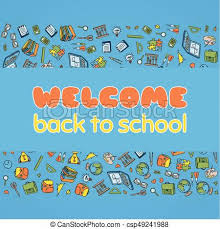 Back To School Invitation Template Doodle Welcome Back To School Poster Hand Drawn Stationary Graphic