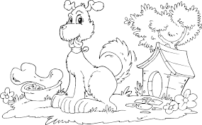Small Picture Dog With Doghouse And Bone Coloring Page Coloring Dog House