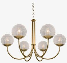 oxford brushed brass 6 arm ed glass globes pendant chandelier