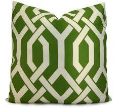 etsy emerald green white trellis modern outdoor pillow cover