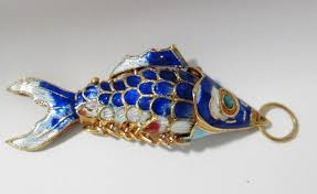 details about articulated swing cloissone enamel chinese koi fish pendant blue gold green