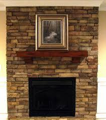 stacked ledge stone fireplace