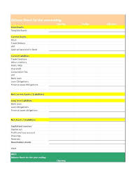 Small Business Balance Sheet Example Template For Templates