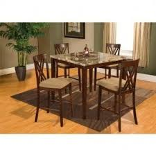 4 chair kitchen table: home source industries  espresso marble counter height dining table with  chairs brown