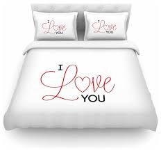 nl designs i love you white red duvet cover cotton queen contemporary