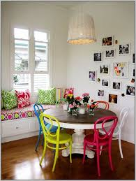 bright coloured dining table and chairs