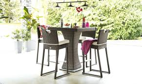 4 seat square garden bar set with ice bucket brown rattan wicker table and chairs round