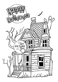 Halloween house coloring page for kids, printable free - Halloween