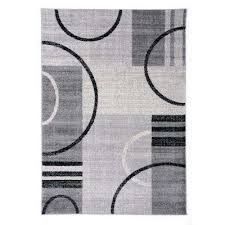 abstract contemporary geometric circles design 7 ft 10 in x 10 ft gray