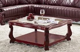 king square classic style glass top coffee table