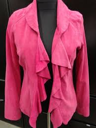 details about white house black market pink suede leather jacket w ruffles nwt new 298