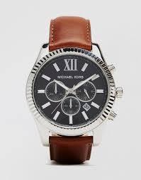 michael kors michl kors lexington chronograph brown watch in leather mk8456