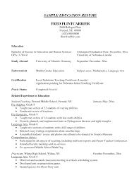 Sample Resume For Education Resume Samples
