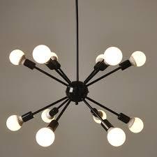 industrial edison bulb chandelier in vintage loft style in black finish 12 lights