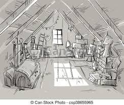 attic clipart black and white. Modren Black Old Attic Vector Illustration For Attic Clipart Black And White