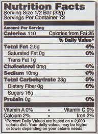 charms pop nutrition label