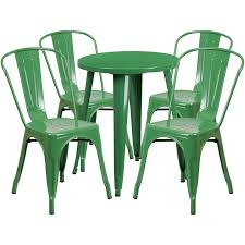 24 round green metal indoor outdoor table set with 4 cafe chairs