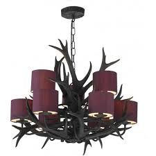 antler 9 light tiered chandelier with a black finish