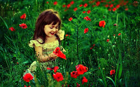 cute baby with red flowers hd wallpaper cute little es
