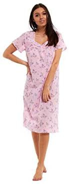Ladies 100% Jersey <b>Cotton Short Sleeve</b> Nightie Summer Buttoned ...