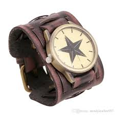 stylish men s retro genuine leather width wristband watches cowhide wrap bracelet punk wrisches jewelry for men gifts top quality low watches