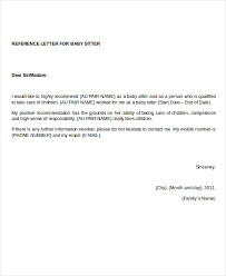Babysitter Reference Letter Reference Letter 12 Free Word Pdf Documents Download