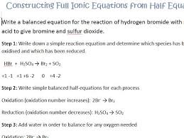 redox constructing half equations and ionic equations by gerwynb teaching resources tes