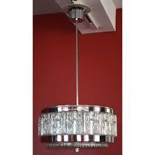 superb round vintage french mid century modern chrome glass chandelier