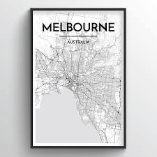Melbourne royal botanic gardens map. Melbourne City Map Art Prints High Quality Custom Made Art Point Two Design