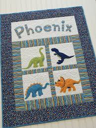 24 best Dinosaur images on Pinterest | Blankets, Events and ... & Personalized Baby Quilt with Dinosaurs and Appliqued Name Adamdwight.com